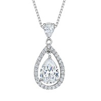 Jools By Jenny Brown Cubic Zirconia Suspended Pear Stone Necklace Silver