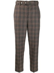 Brunello Cucinelli Plaid Belted Trousers Brown