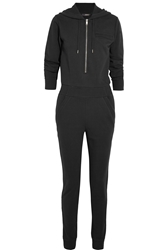 Dkny Cara Delevingne Hooded Cotton French Terry Jumpsuit