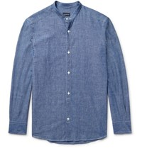 Ermenegildo Zegna Slim Fit Grandad Collar Cotton Chambray Shirt Blue
