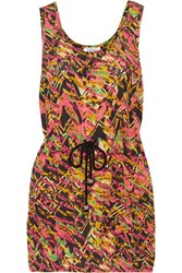 M Missoni Printed Silk Organza Top Bright Pink