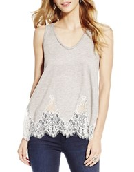 Jessica Simpson Lace Trimmed Tank Top Grey