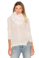 Jocelyn Long Hair Rabbit Knitted Infinity Scarf White