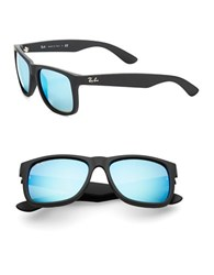 Ray Ban Justin Flash Lens Square Sunglasses Blue Green