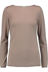 Brunello Cucinelli Metallic Cashmere Blend Top Taupe