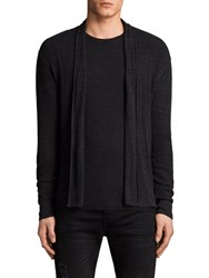 Allsaints Marrin Cotton Cardigan Cinder Black Marl