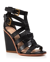 Pour La Victoire Open Toe Strappy Wedge Sandals Cecile Black