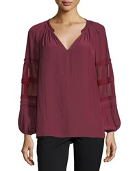 Ramy Brook Rae V Neck Sheer Long Sleeves Top Red