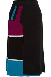 Kenzo Color Block Ribbed Wool Wrap Effect Midi Skirt Black