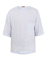 Barena Crew Neck Striped Linen T Shirt White Multi