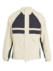 Martine Rose Contrast Panel Logo Print Shell Jacket Beige
