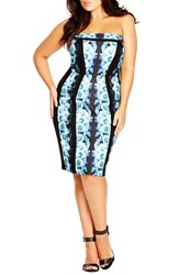 Plus Size Women's City Chic 'Midnight Blue' Floral Body Con Dress