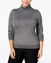 Calvin Klein Plus Size Marled Turtleneck Sweater Black Winter White