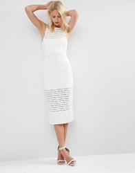 Asos Mixed Panel Pinny Midi Pencil Dress White