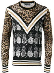 Dolce And Gabbana Pineapple Leopard Print Jumper Black