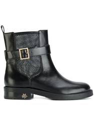 Charlotte Olympia Mesh Insert Boots Leather Rubber Black