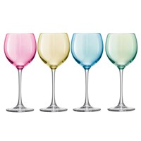 Lsa International Polka Assorted Wine Glasses Set Of 4 Pastel