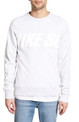Men's Nike Sb 'Everett Motion' French Terry Crewneck Sweatshirt Black Heather White