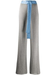 M Missoni Ribbed Flared Trousers Silver