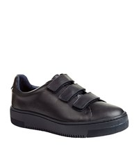 Sandro Accept Blue Leather Trainers Female Black