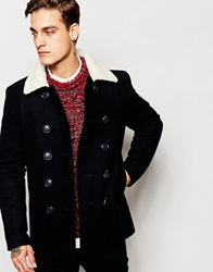 Superdry Rookie Pea Coat With Sherpa Lined Collar Navy