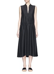 Vince Ruched Silk Sleeveless Dress Black