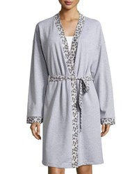 Cosabella Leopard Print Long Sleeve Knit Robe Heather Gray
