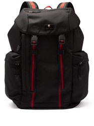Gucci Web Striped Canvas Backpack Black