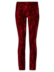 Haider Ackermann Madame Skinny Leg Velvet And Leather Trousers Red