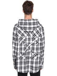 Off White Over Hooded Check Cotton Blend Shirt White