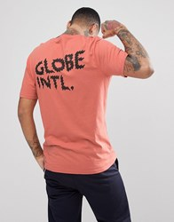 Globe Zap T Shirt With Back Print In Dusty Coral Orange