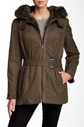 7 For All Mankind Belted Faux Fur Lined Parka Green