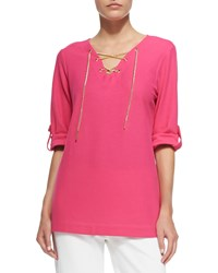 Joan Vass Cotton Pique Lace Up Tunic Women's