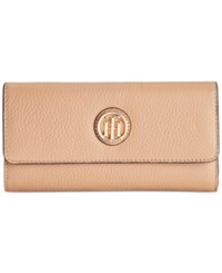 Tommy Hilfiger Lucky Charm Pebble Leather Large Flap Wallet Caramel