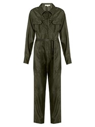 Katharine Hamnett At Ymc Long Sleeved Silk Satin Jumpsuit Khaki