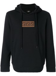 Fendi Embroidered Hoodie Cotton Cashmere Black