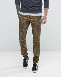Asos Super Skinny Smart Joggers In Camo Khaki Green