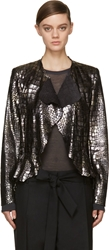 Isabel Marant Silver Croc Leather Ramie Jacket