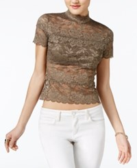 Guess Shayna Mock Turtleneck Lace Top Bungee Cord