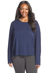 Eileen Fisher Long Sleeve Silk Tee Plus Size Midnight