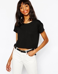 Monki Crop Boxy Tee Black