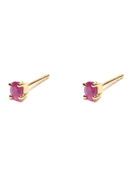 Wouters And Hendrix Gold 'Ruby' Earrings Pink And Purple