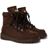 Moncler Egide Suede And Nylon Boots Brown
