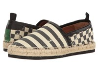 Marc Jacobs Distressed Canvas Espadrille Stripe Check Men's Slip On Shoes Multi