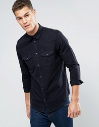 New Look Western Shirt In Black Denim In Regular Fit Black