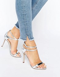 Call It Spring Staval Heeled Strappy Ankle Wrap Sandal Silver