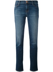 J Brand Faded Straight Jeans Women Cotton Polyurethane 29 Blue