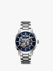 Rotary Gb05350 05 'S Greenwich Skeleton Automatic Bracelet Strap Watch Silver Blue