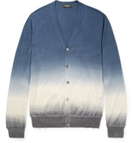 Berluti Degrade Cashmere And Silk Blend Cardigan Blue