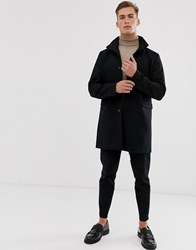 Selected Homme Recycled Wool Overcoat With Funnel Neck Black